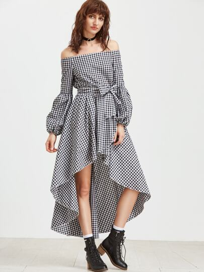 Bardot Checkered Bow Tie Detail High Low Dress