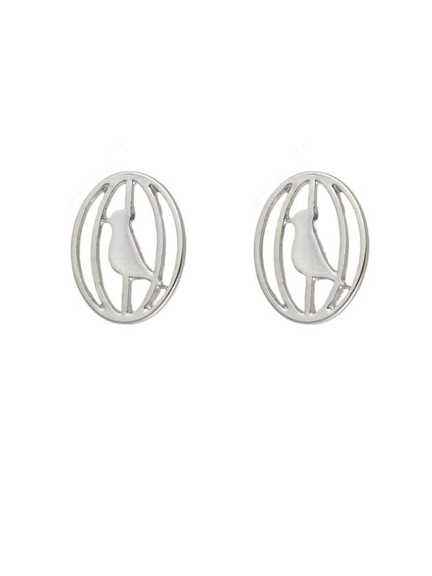Фото Silver Color Cute Metal Bird Cage Small Stud Earrings. Купить с доставкой