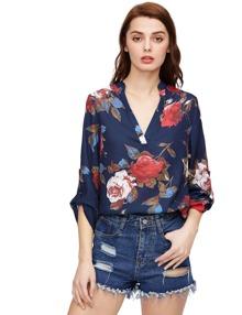 Royal Blue Long Sleeve Floral Print Blouse