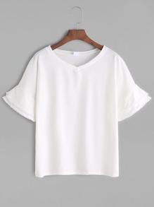 White V Neck Tiered Bell Sleeve Crochet Trim T-shirt