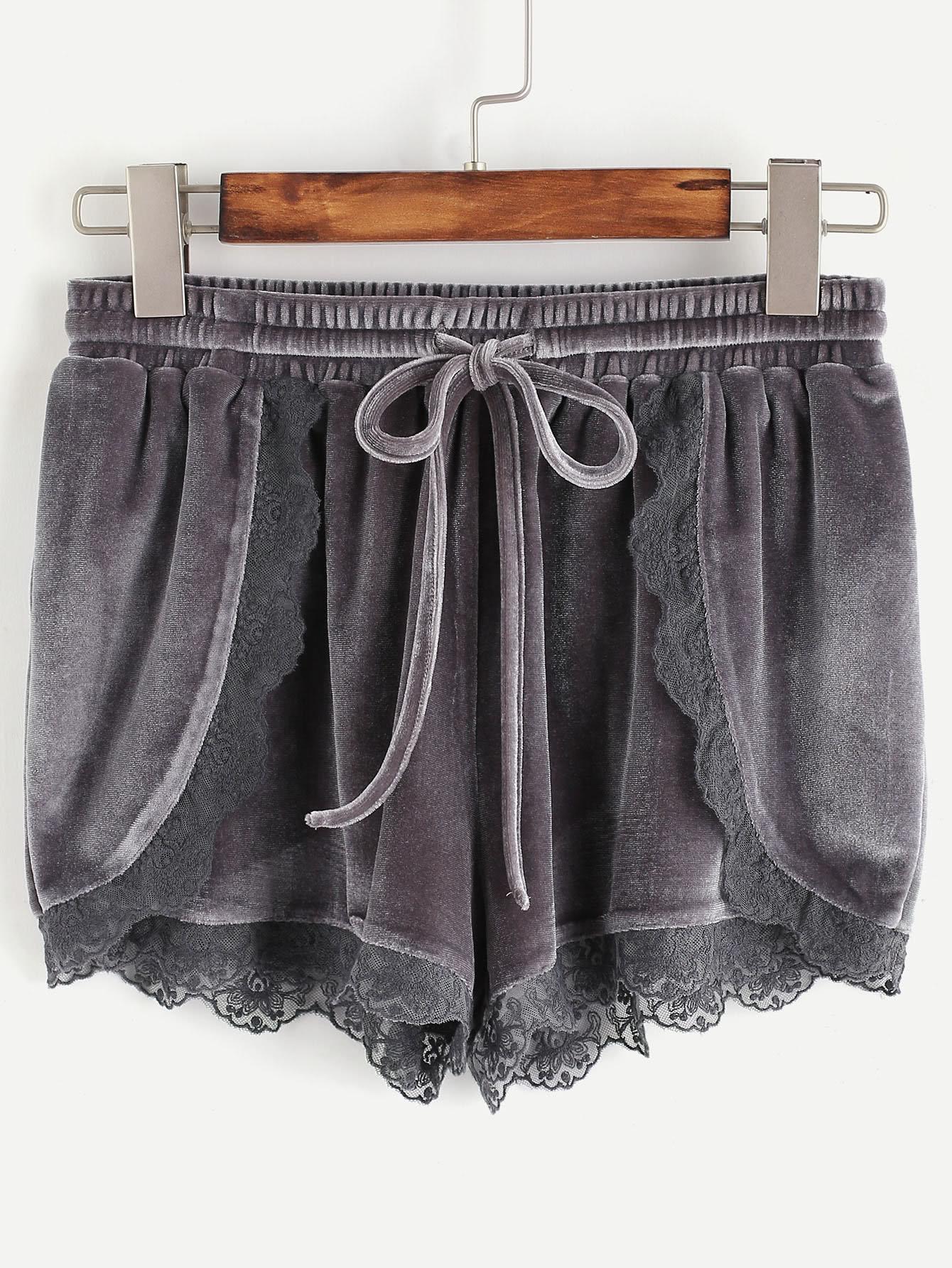 Фото Grey Lace Trim Drawstring Waist Velvet Wrap Shorts. Купить с доставкой