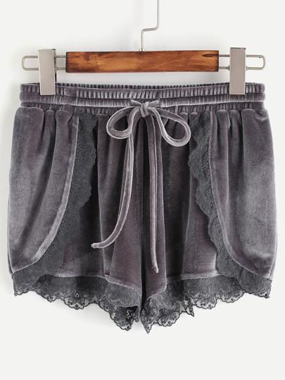 Shorts cruzado ribete de encaje cintura con cordón de terciopelo - gris