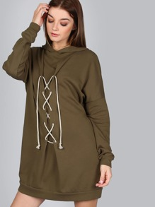 Corset Hoodie Dress OLIVE