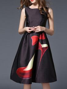 Black Shoe Print A-Line Dress