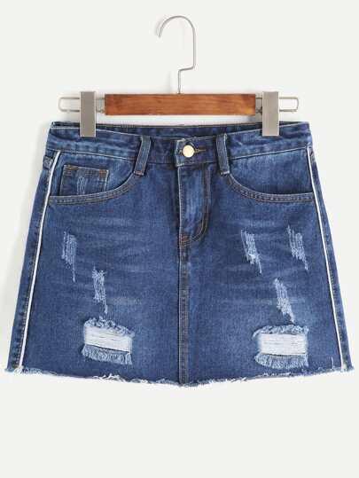 Dark Blue Ripped Raw Hem Denim Skirt