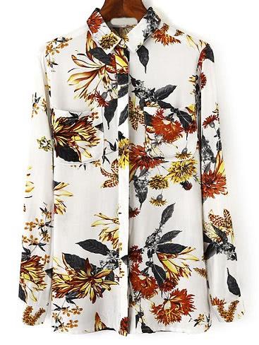 Фото Flower Print Blouses With Pocket. Купить с доставкой