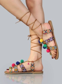 Embroidered Lace Up Pom Pom Sandals WHISKY