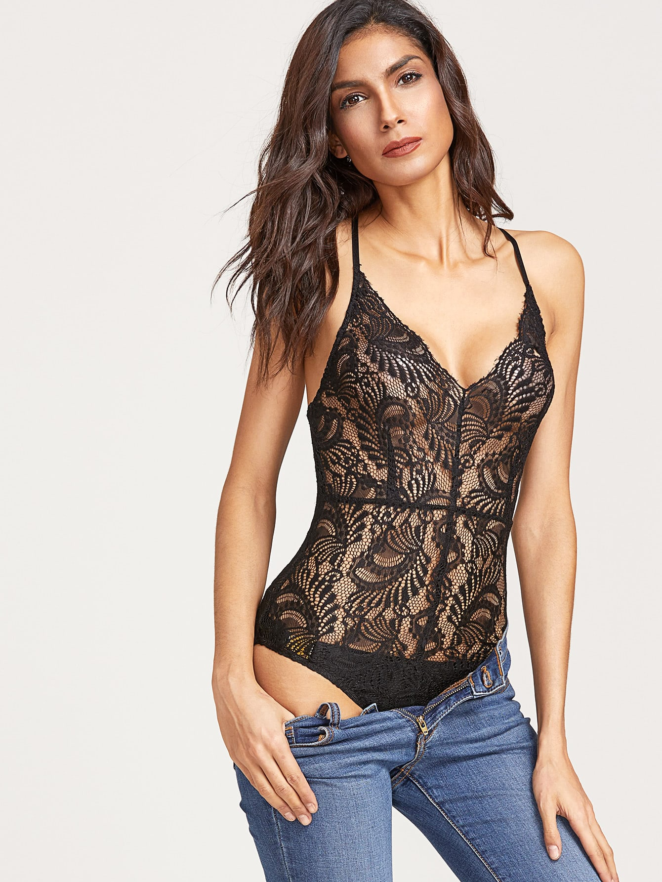 Crisscross Back Sheer Lace Bodysuit
