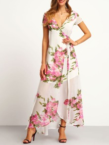 White Floral Print Wrap Maxi Dress