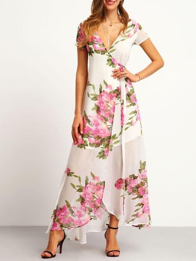 Модное белое макси платье с цветочным принтом и разрезом