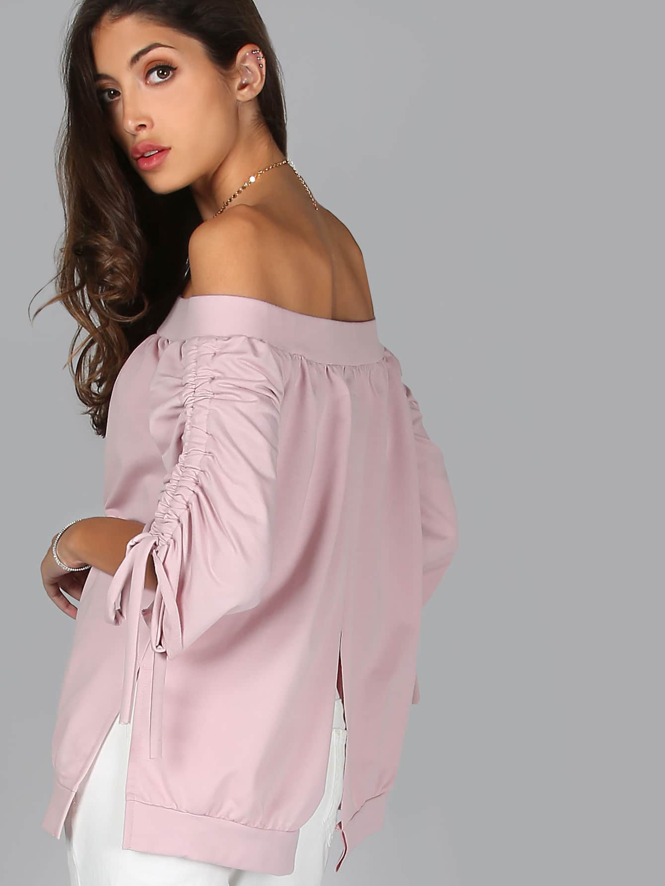 Фото Ruched Sleeve Bardot Split Back Top DUSTY PINK. Купить с доставкой