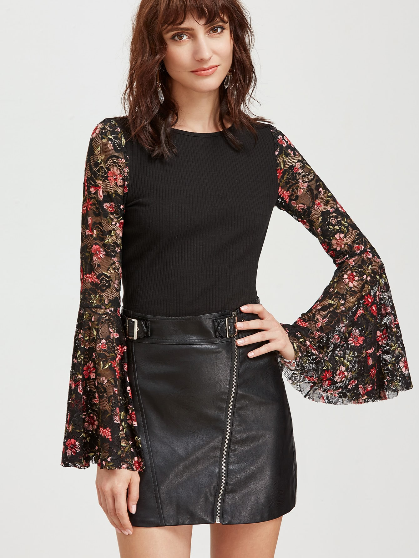 Black Floral Lace Bell Sleeve Ribbed Top blouse170214707