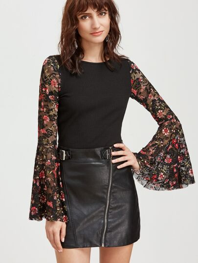 Black Floral Lace Bell Sleeve Ribbed Top