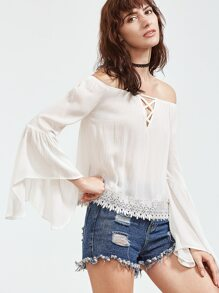 Beige Off The Shoulder Contrast Lace Hem Lattice Top