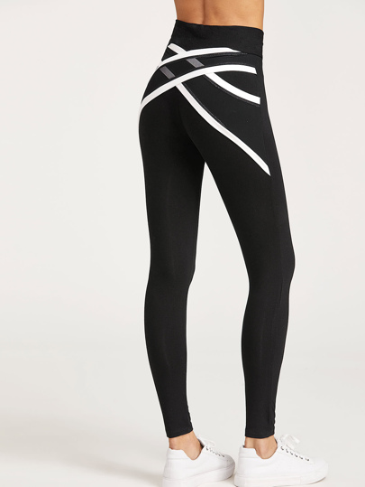 Contrast Trim Crisscross Mesh Back Leggings