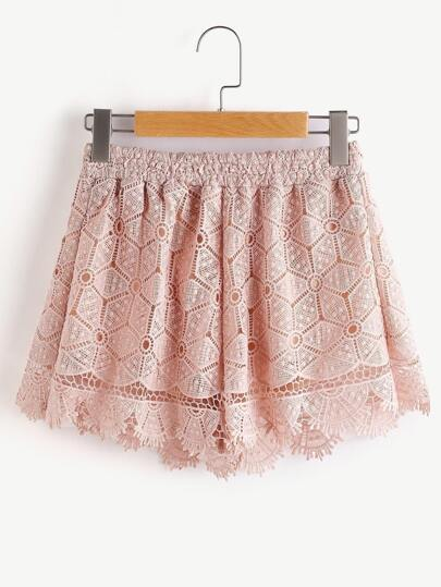 Pink Scallop Hem Hollow Out Embroidered Lace Shorts