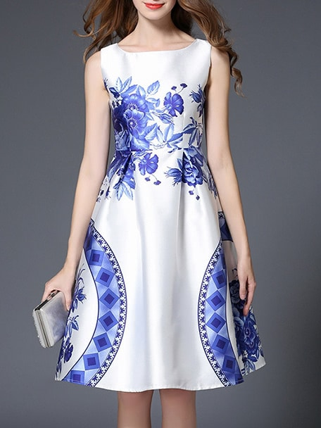 Фото White and Blue Porcelain A-Line Dress. Купить с доставкой