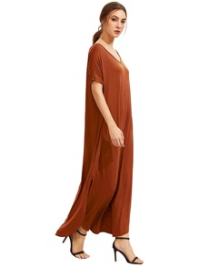 Orange Short Sleeve Pocket Split Side Dress pictures