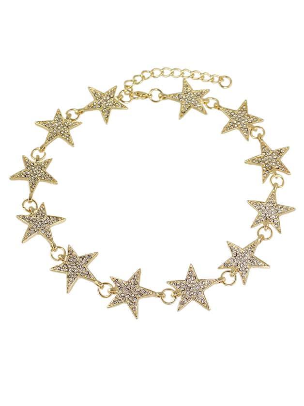 Фото Gold Color Rhinestone Star Shape Choker Necklaces. Купить с доставкой