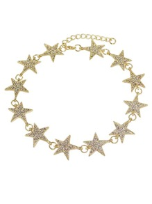 Gold Color Rhinestone Star Shape Choker Necklaces