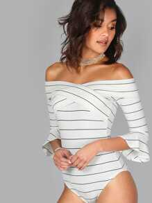 Pinstripe Off Shoulder Cross Front Bodysuit WHITE MULTI