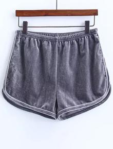 Grey Elastic Waist Velvet Shorts