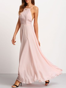 robe dos croix à bretelle -rose