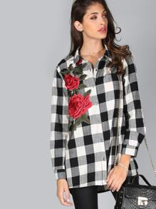 Embroidered Plaid Button Down MULTI