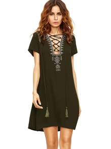 Army Green Blue Lace Up Print Front Shift Dress