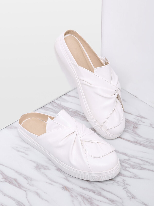 White Faux Leather Round Toe Slippers, null