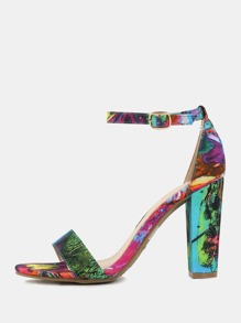 Graphic Printed Chunky Heels MULTI