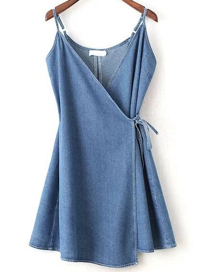Wrap Cami Dress With Tie Detail