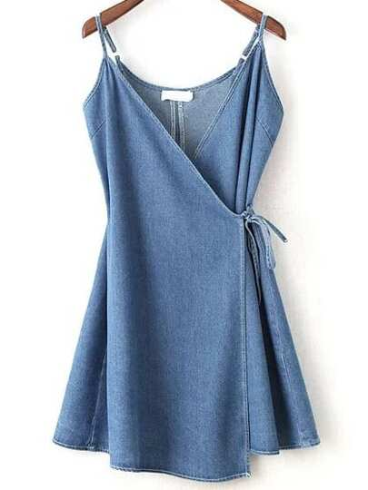 Wrap Cami Dress With Tie Detail