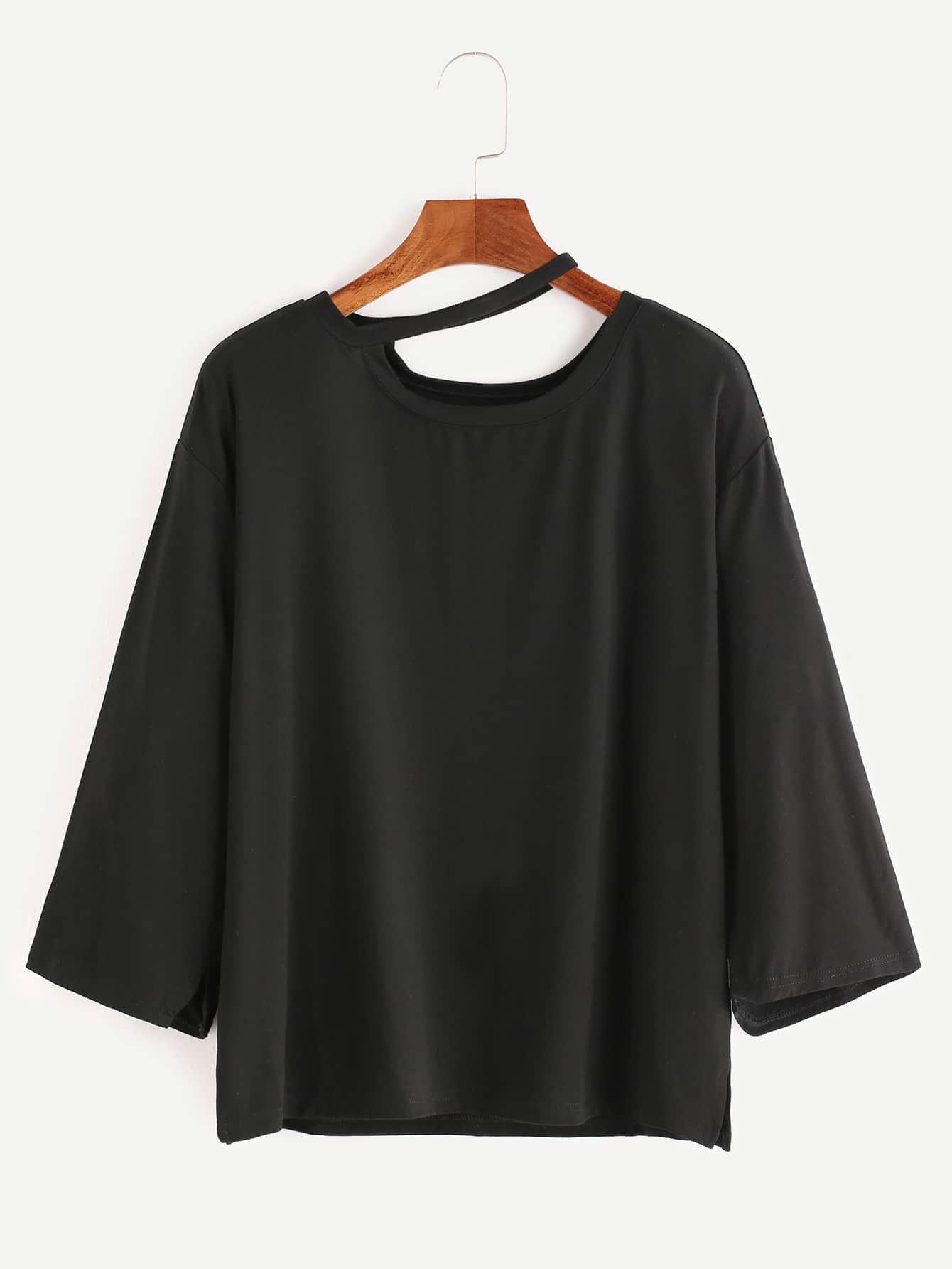 Black asymmetric cutout halter neck 3 4 sleeve t shirt for 3 4 sleeve shirt template