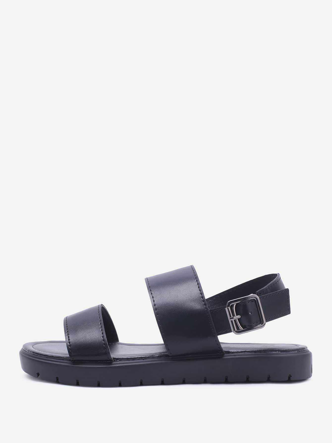 Фото Black Strap Pu Flat Sandals. Купить с доставкой