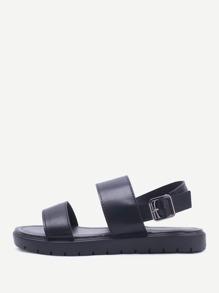 Sandales à fond plat noir à bretelle en PU