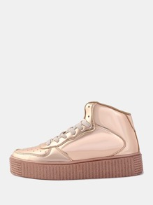 High Top Metallic Sneakers ROSE GOLD