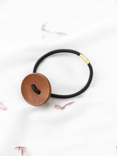 Coffee Button Design Simple Hair Tie