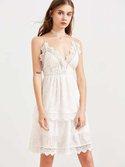White Lace Trim Layered Embroidered Cami Dress