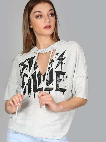Cut Out Rocker Hoodie HEATHER GREY