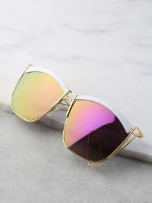 Reflective Curve Square Sunglasses PURPLE