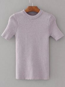 Purple Crew Neck Short Sleeve Knitwear