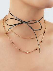 Metallic Beaded Tie Choker BLACK
