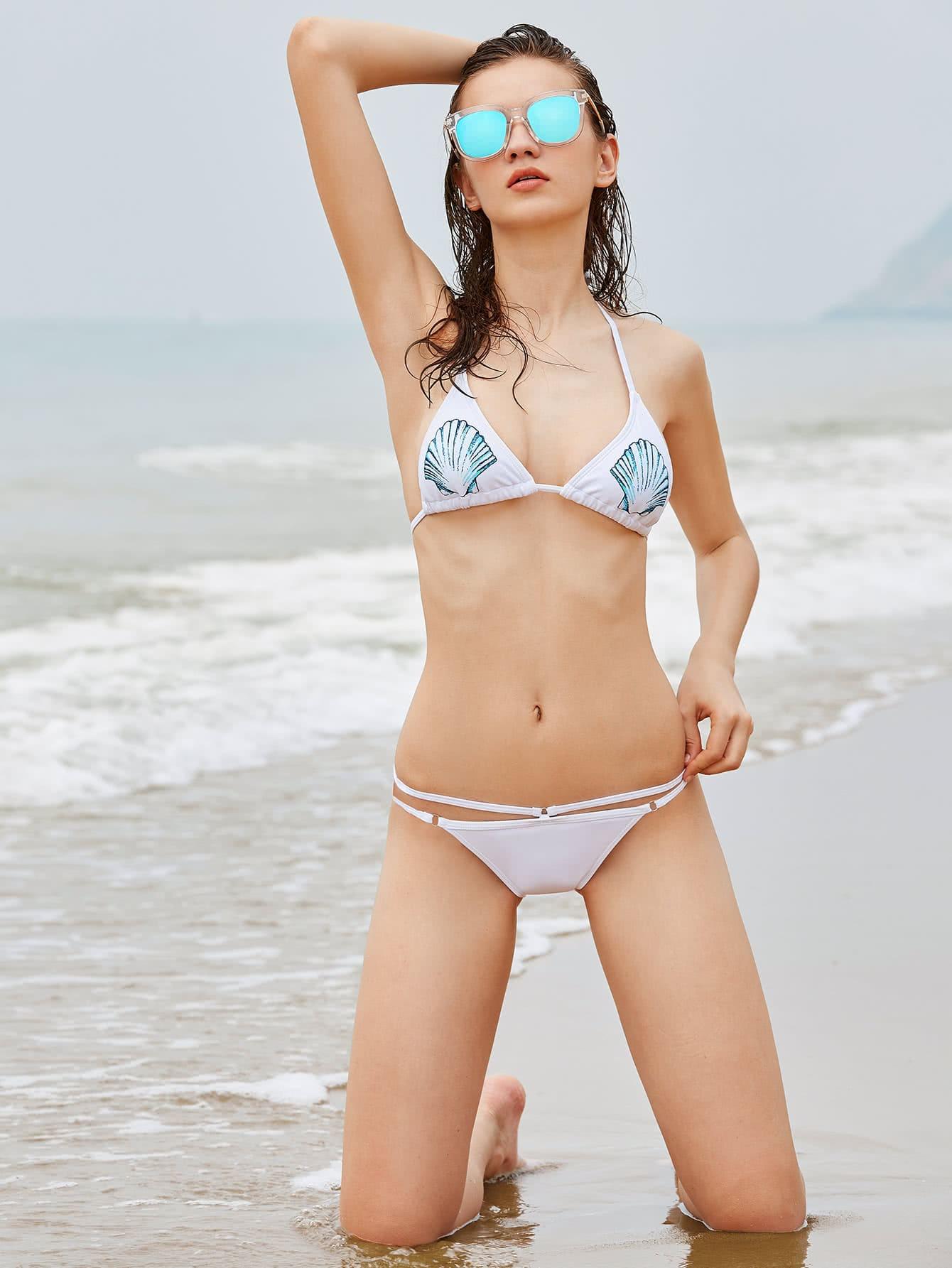 Фото Scallop Print Tie Detail Bikini Set. Купить с доставкой