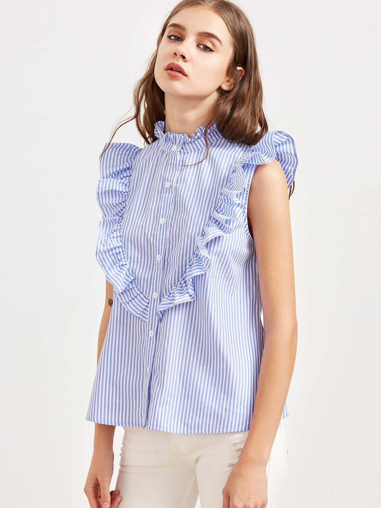 Blue Striped Ruffle Detail Sleeveless Blouse blouse170213712