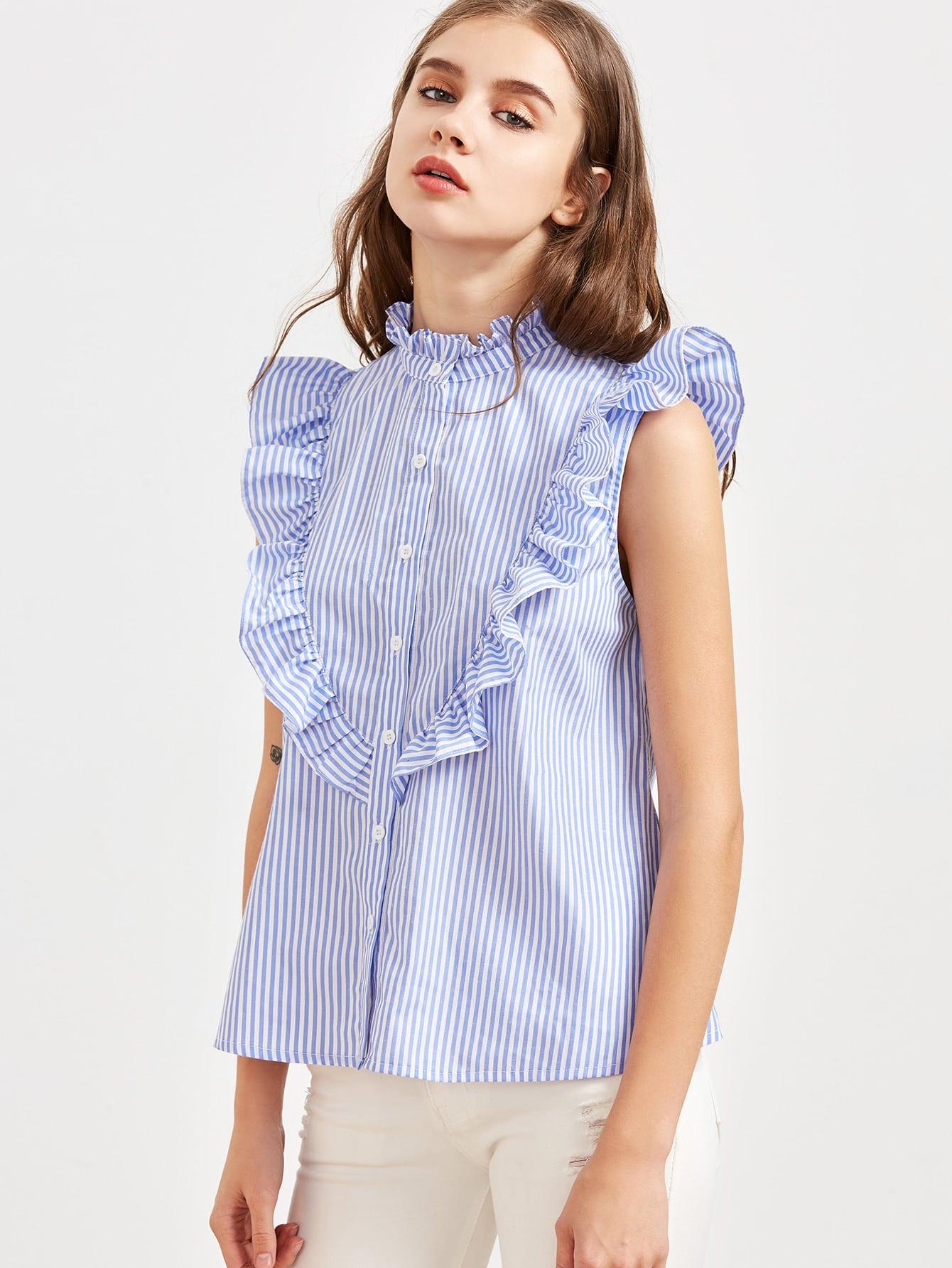 Blue Striped Ruffle Detail Sleeveless Blouse blouse170213712