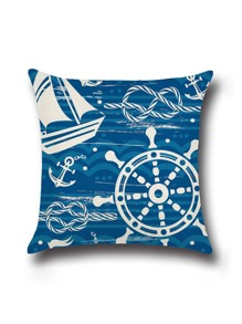 Blue Boat Steering Wheel Print Cushion Cover