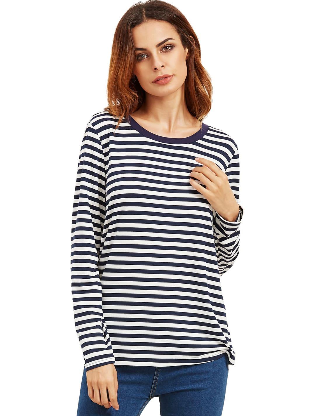 Navy Long Sleeve Striped T-Shirt