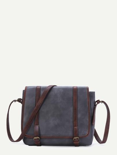 Grey Contrast Trim PU Shoulder Bag