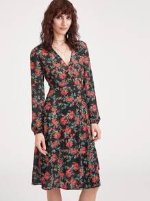 Botanical Print Surplice Wrap Dress